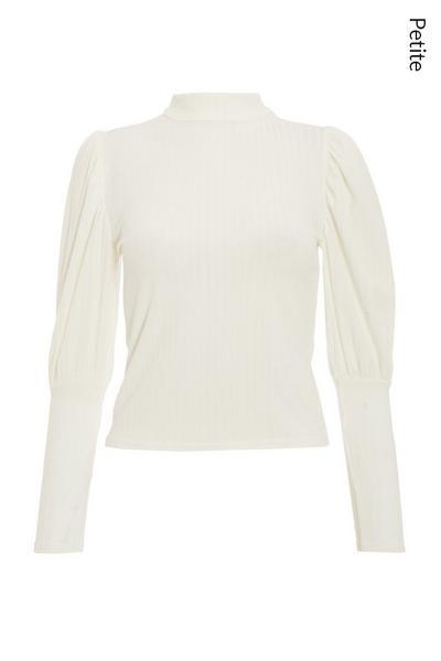 Petite Cream Light Knit Puff Sleeve Top